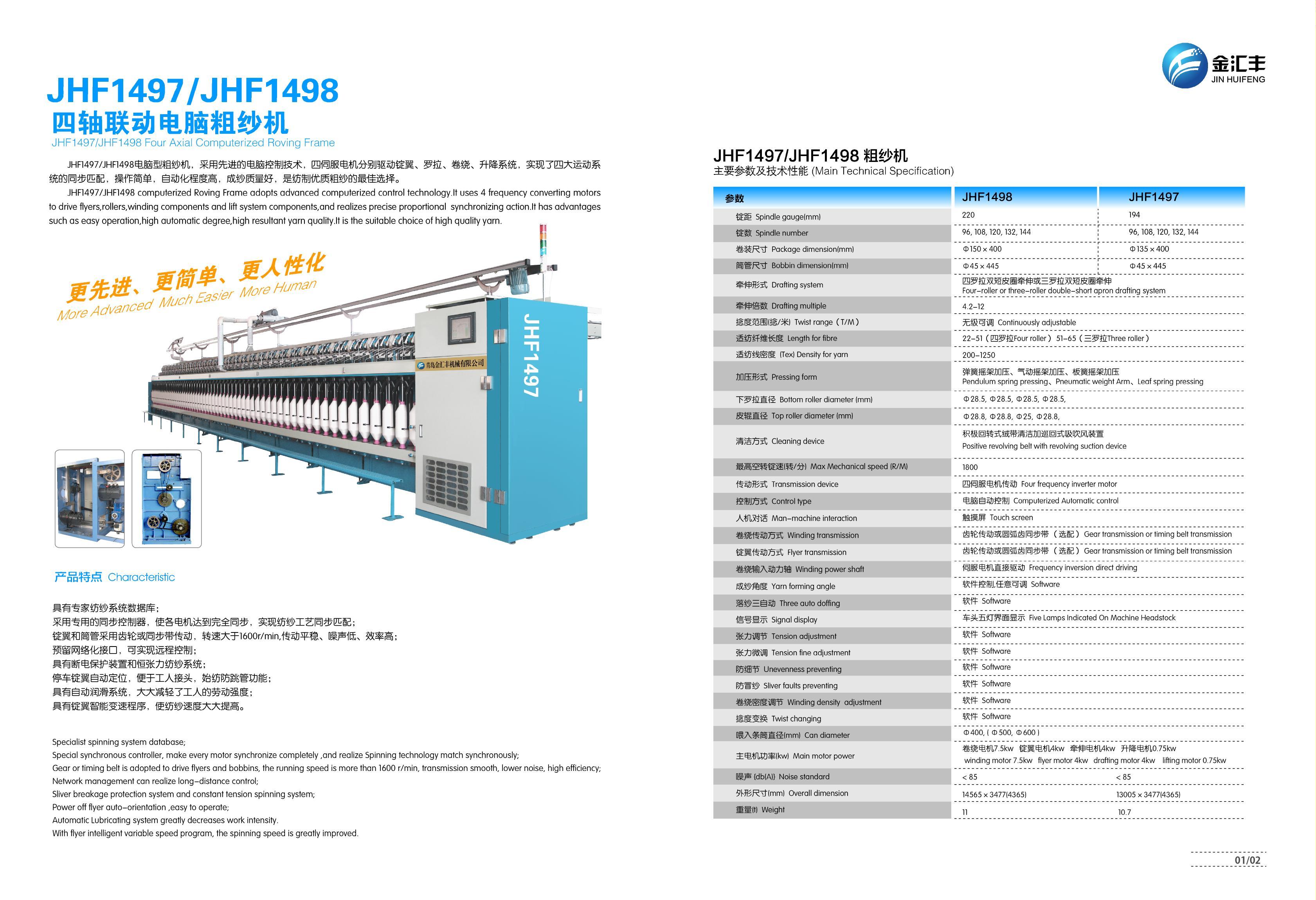 JHF1497/JHF1498四轴联动全伺服电脑棉纺粗纱机