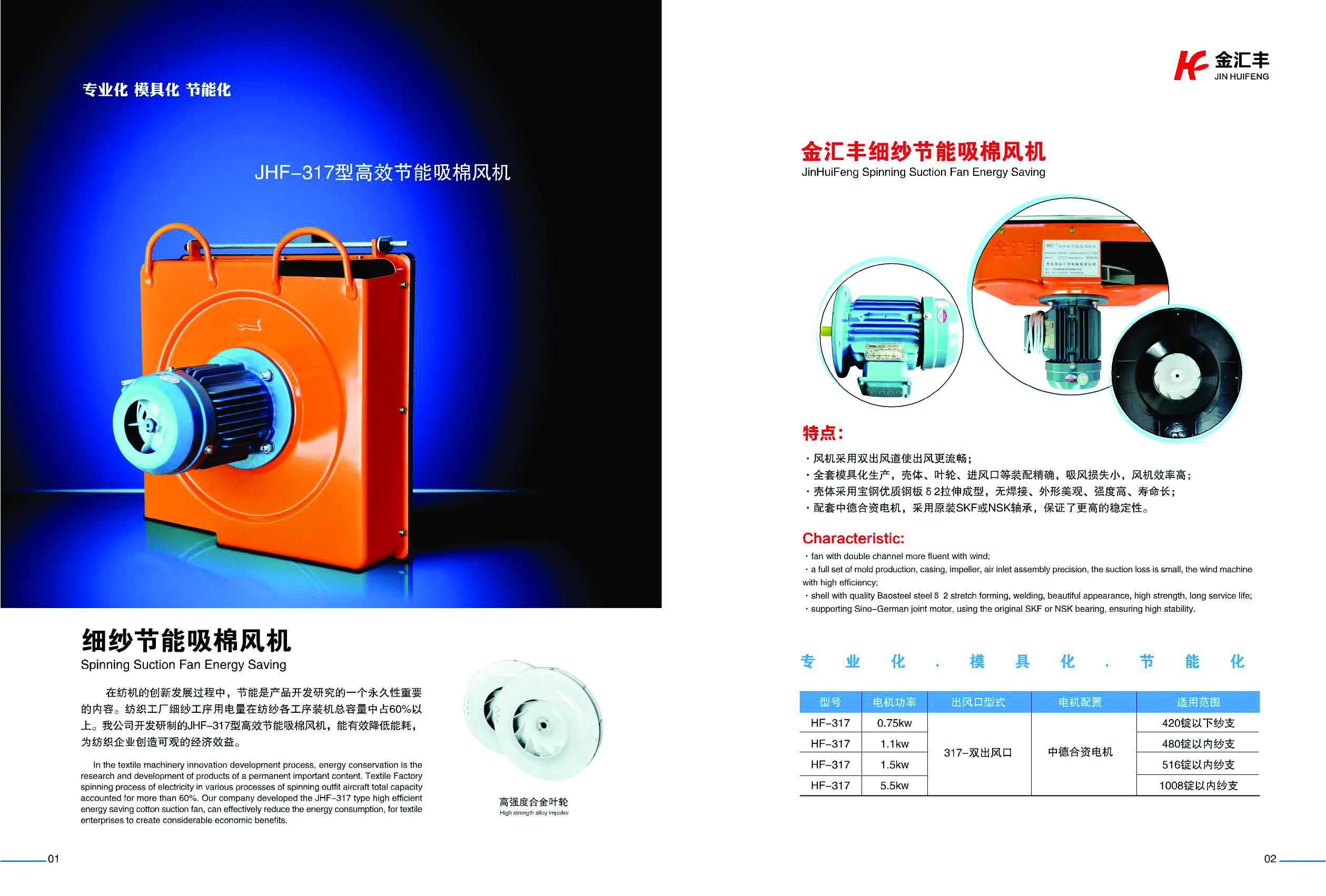 JHF317型高效節能細紗節能吸棉風機
